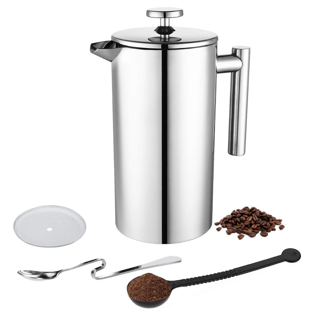 ROKENE Coffee Press Stainless Steel French Press Cafetiere Coffee Maker Double Walled Construction 3 Pieces Gifts 350 800 1000MLROKENE Coffee Press Stainless Steel French Press Cafetiere Coffee Maker Double Walled Construction 3 Pieces Gifts 350 800 1000ML