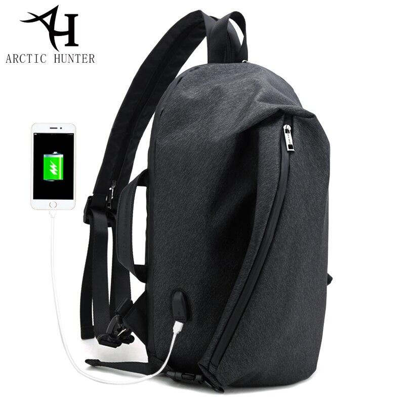 Arctique HUNTER USB chargeur mâle poitrine sac épaule sac à dos pour homme mode mâle Mochila loisirs voyage sac à dos anti voleur