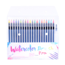 лучшая цена 2019 New 20 Colors Watercolor Brush Pens Art Marker Pens For Drawing Coloring Books Manga Calligraphy School Supplies Stationery
