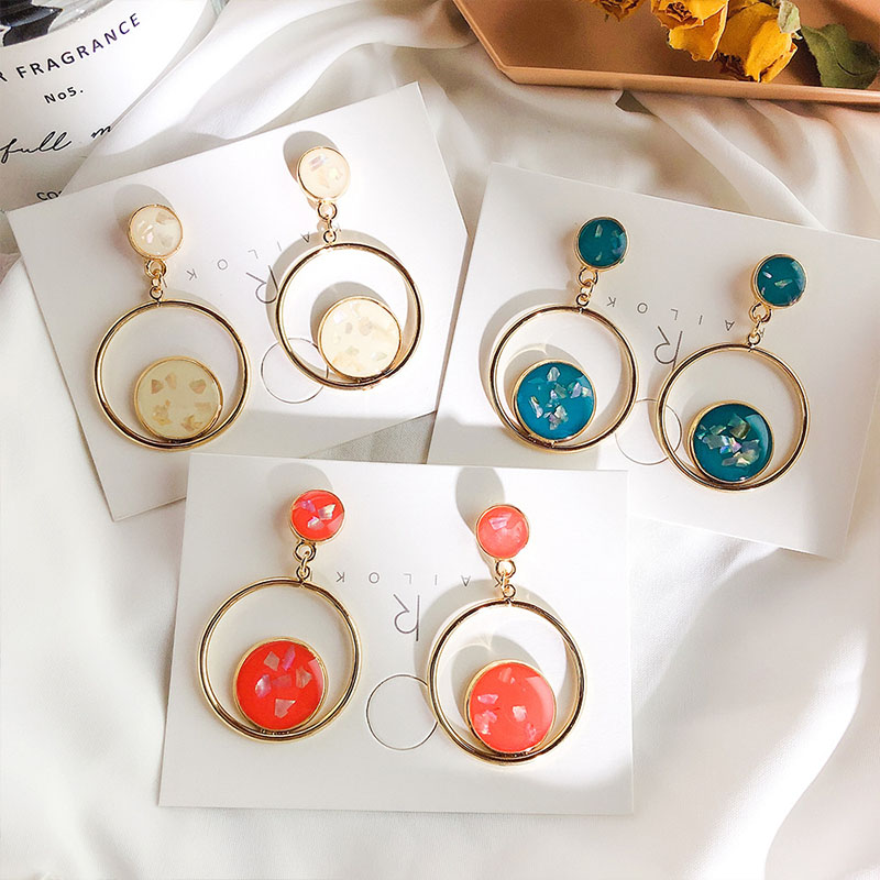 Baroque Style Vintage Enamel Round Circle Drop Earrings For Women Simple Geometric Fashion Earings FemmeEar Accessories