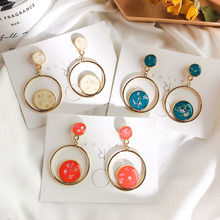 цены Baroque Style Vintage Enamel Round Circle Drop Earrings For Women Simple Geometric Fashion Earings FemmeEar Accessories