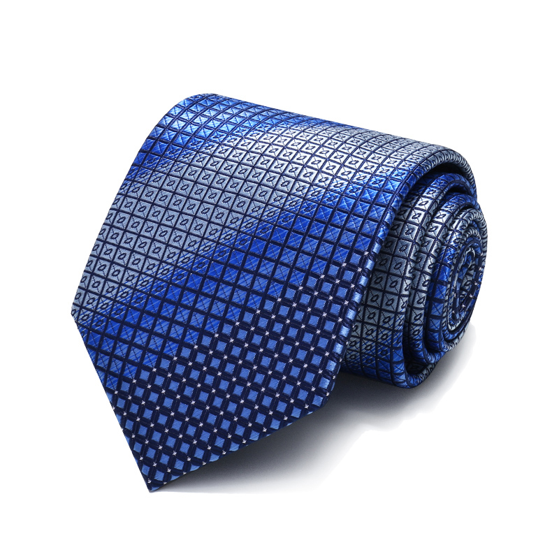 Luxury Jacquard Weave Blue Striped Plaid Mens Ties Professional standards 8cm Necktie Wedding Tie for Men with Neck Tie Gift Box