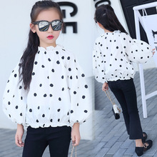 Children's clothing 2019 spring autumn new dots children's shirt girls shirt 3 4 5 6 7 8 9 10 11 12 years old baby girl clothes недорого