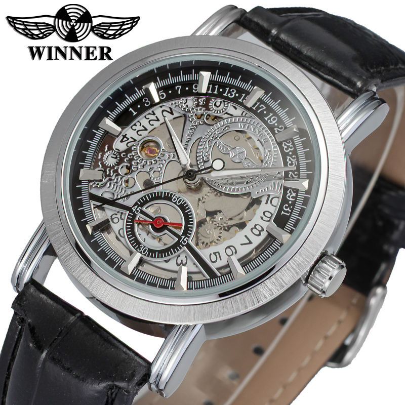 WRG8077M3S3 winner brand new arrival Automatic silver skeleton watch for men with black leather band wristwatch free shipping все цены