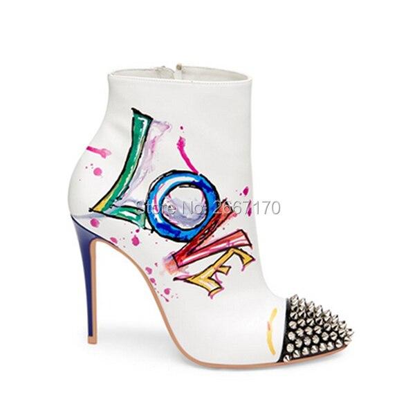 Pic as Cuero Botas Pic Bottes Negro Punta As Diseño Celebrity Mujeres Nuevo Tacones Blanco Tobillo Toe Femme De Sexy Amor Impreso UHw4qYz