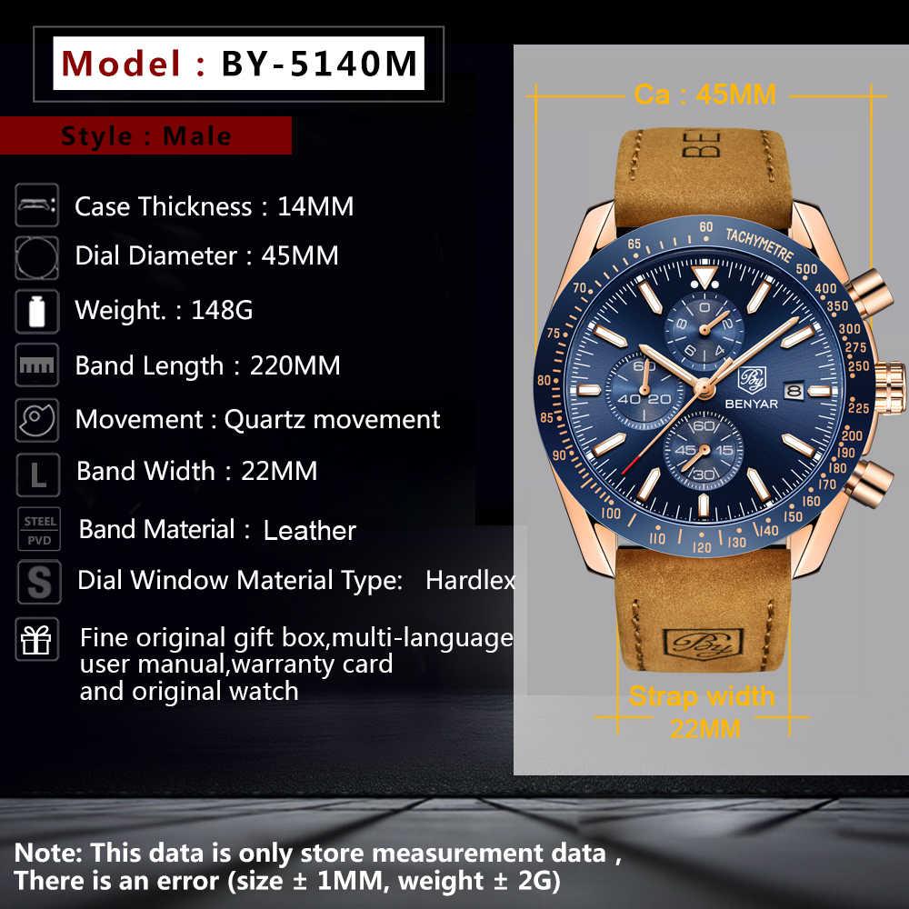 BENYAR часы для мужчин роскошный силиконовый ремешок Водонепроницаемый Спортивный Кварцевый Хронограф военные часы мужские часы Relogio Masculino