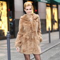 2015 Winter Women's Natural Real Rex Rabbit Fur Coat Jackets with Hoody Lady Slim Trench Outerwear Coats Garment VK0209