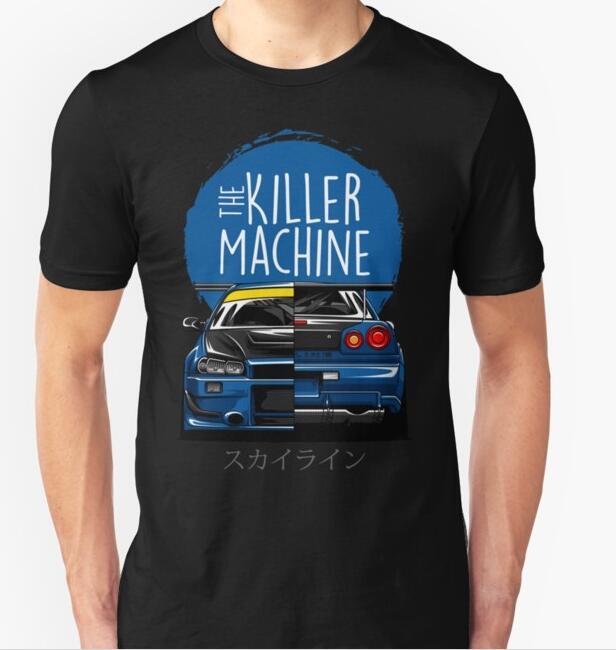 Image 2 - New Men T shirt Fashion Niss Skyline GTR R34 BNR34 Car Logo JDM T shirt Custom Print-in T-Shirts from Men's Clothing
