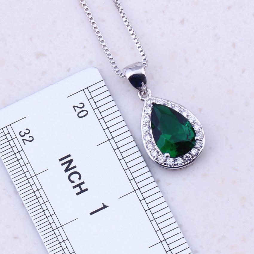 Viihdyttävä vihreä luoma smaragdi valkoinen CZ 925 hopea - Muotikorut - Valokuva 4