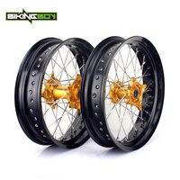 BIKINGBOY 17 супермото полный набор передний задний обод колеса золото концентратора для SUZUKI РМЗ/RM Z 250 450 RMZ250 2007 2016 RMZ450 2005 2016