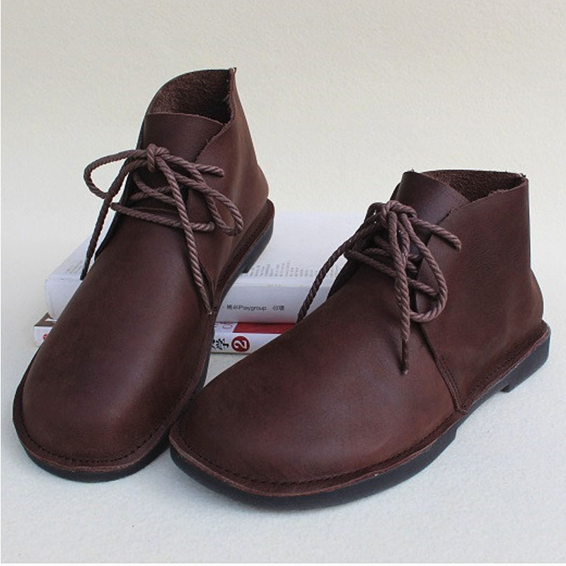 Woman Boots Genuine Leather Lace up Women Ankle Boots Round toe Comfy Ladies Autumn Shoes Female