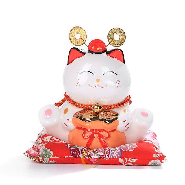 6 inch Maneki Neko Ceramic Lucky Cat Home Decor Porcelain Ornaments Cute Fortune Cat Money Box Fengshui Crafts 5