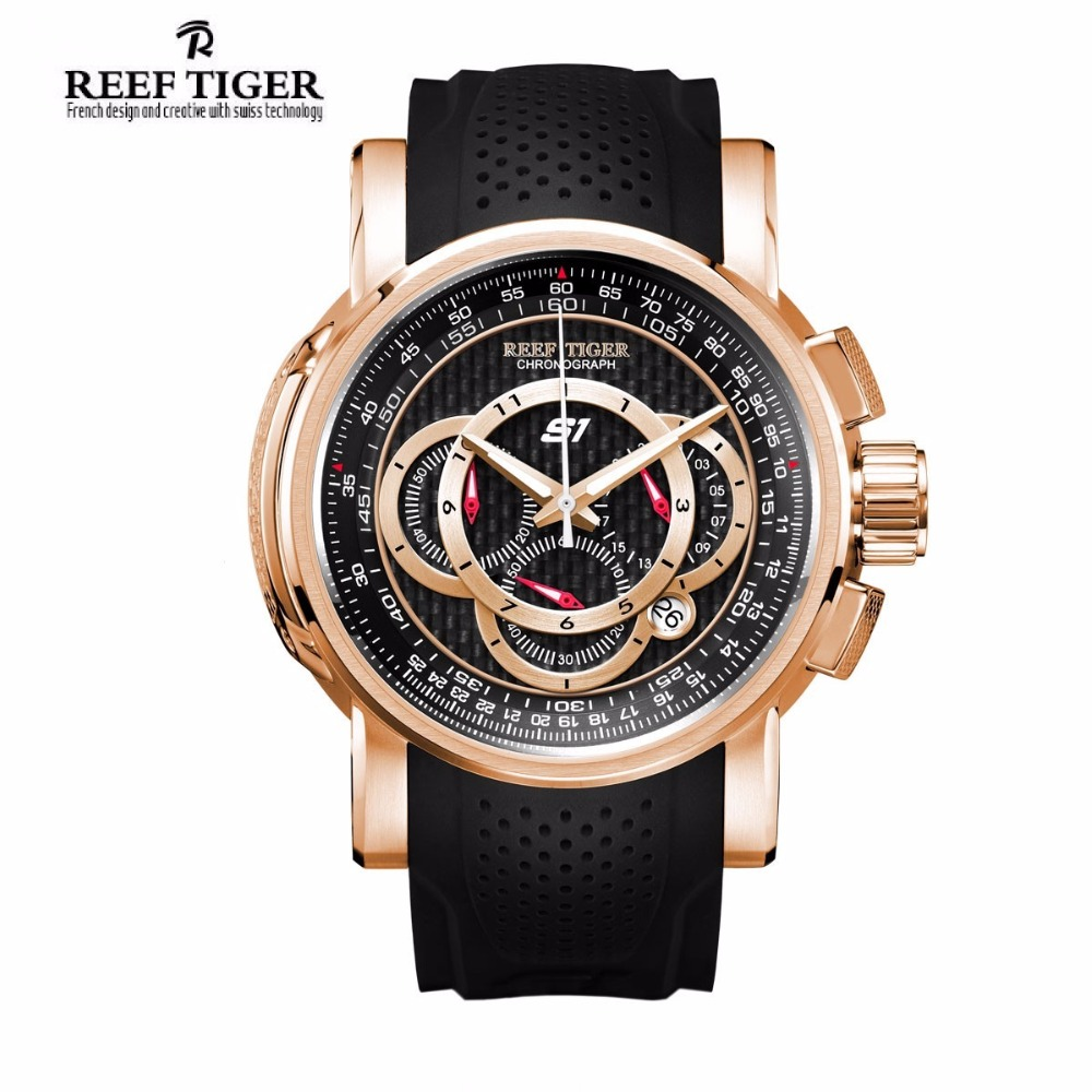 Reef Tiger brand Outdoor Sport Quartz Watch reloj hombre Chronograph Date Black Rubber Strap Watches For Men relogio masculino