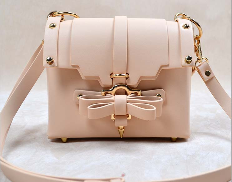 ФОТО Fashion Lady Girls Korean Style PU Leather Butterfly Knot Decoration Rivets Chains Messenger Handbag Shoulder Bag Totes