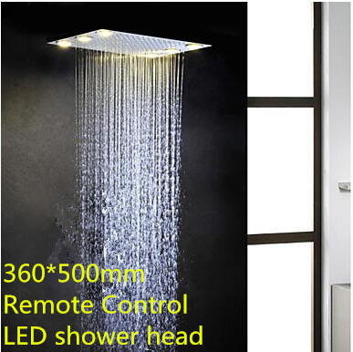 360*500mm Rainfall Reccessed Ceiling Shower Remote Control Led Shower Head