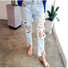 Бесплатная доставка отверстие все матч ретро случайные джинсы женские брюки отличительные