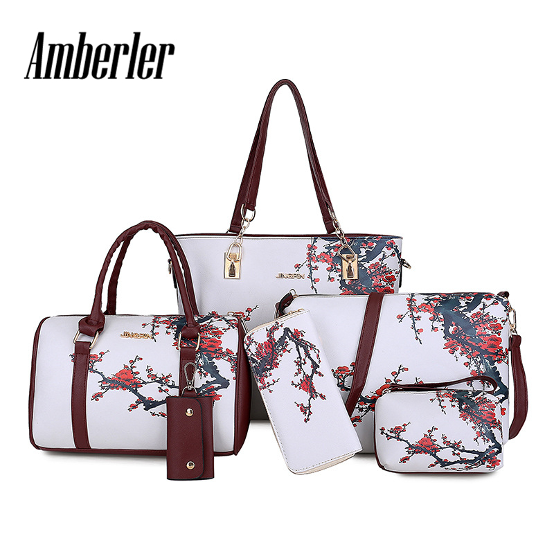 Amberler Luxury Women PU Leather Handbags Women Printed Bags Designer 6 Pieces Set Shoulder Crossbody Bags For Women Big Tote