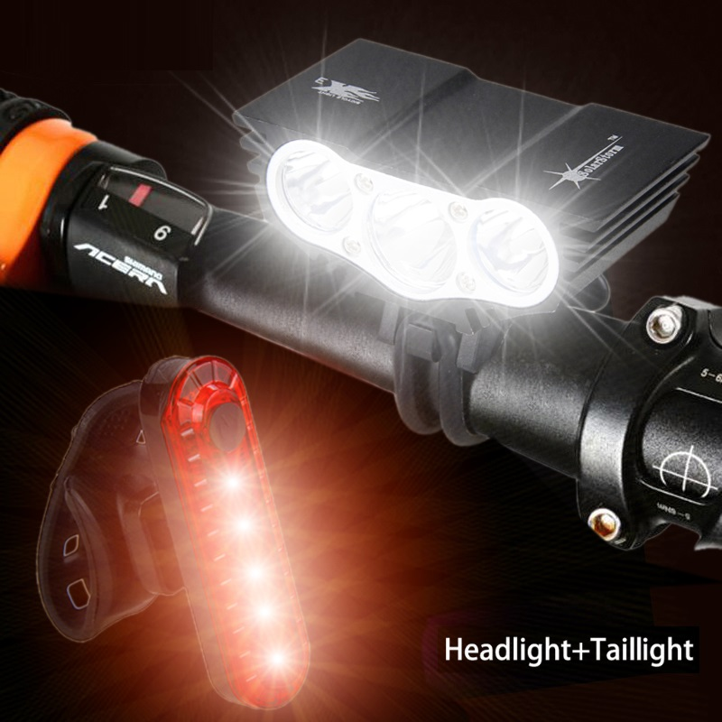 1800 Lm 3x XM-L U2 Led Bicycle Cycling Light Front Cycling Light Headlight Lamp With 18650 Battery Pack Charger Headband