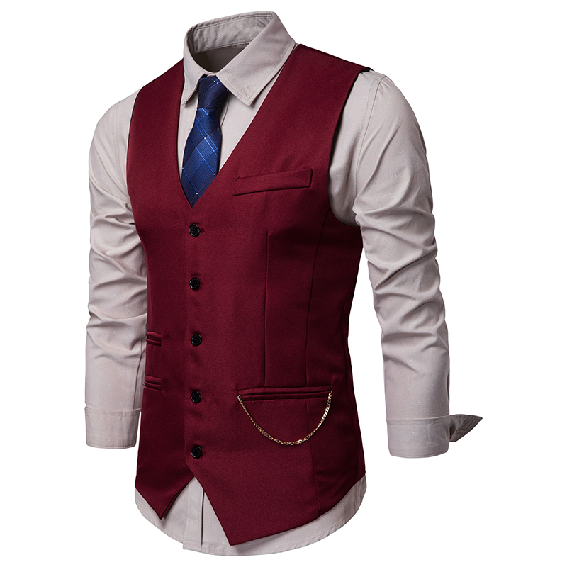 2019 New Arrival Men's Classic Paisley Jacquard Waistcoat Vest Handkerchief Party Wedding Tie Vest Suit Pocket Solid
