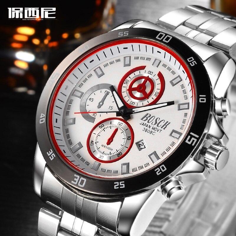 BOSCK - 3808, luxury sports men's watch, watch of wrist of high-end brands, automatic calendar quartz watches, fashion watches