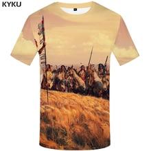 KYKU Indians Tshirt Men Character T Shirt 3d Sky Hip Hop Tee Funny Shirts War Print T-shirt Anime Mens Clothing Summer Tops