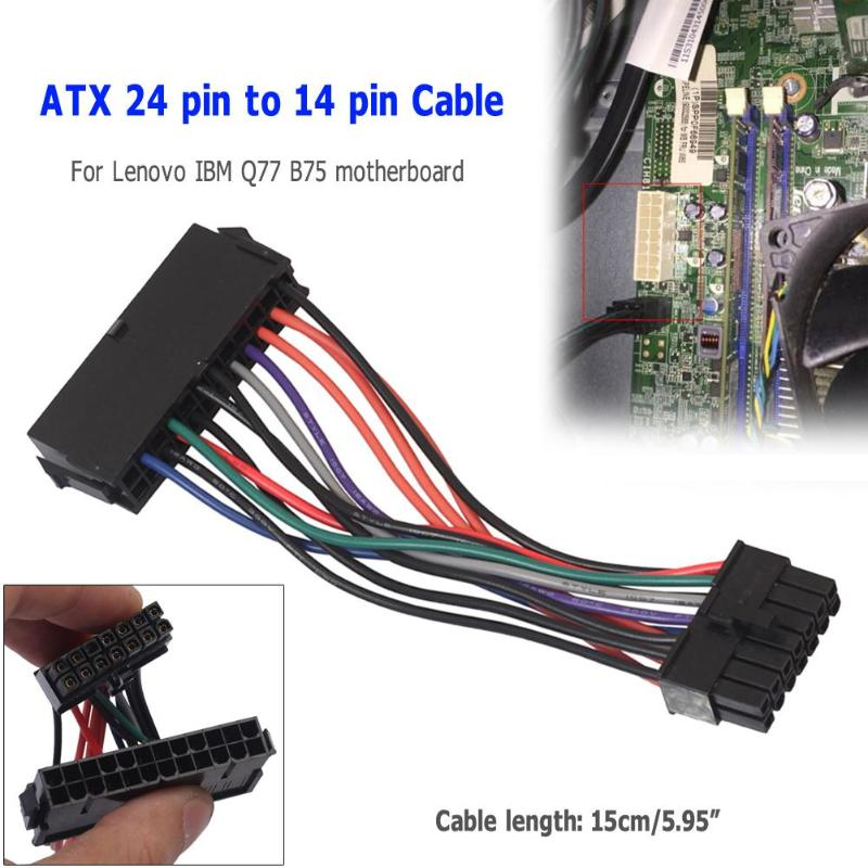 ATX <font><b>24pin</b></font> <font><b>to</b></font> <font><b>14pin</b></font> <font><b>Adapter</b></font> Power Cable Cord for Lenovo for IBM Q77 B75 A75 Q75 motherboard 18AWG Computer Cables image