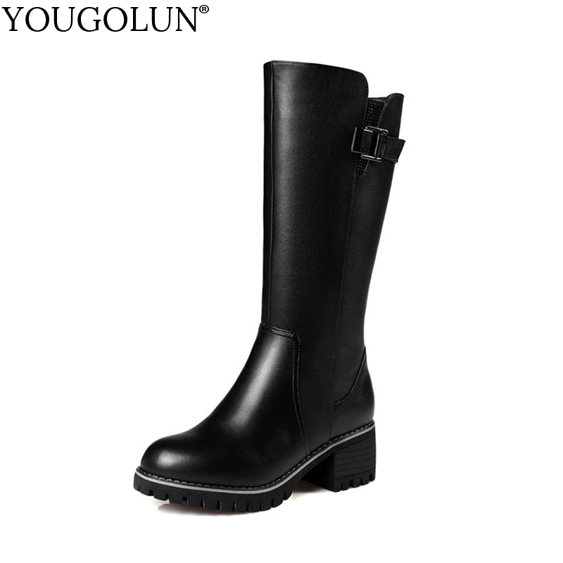 YOUGOLUN Women Mid-Calf Boots Winter Genuine Wool Square Heel 6.5 cm High Heels Black Buckle Round toe Warm Russina Shoes #Y-250 рюкзак case logic 17 3 prevailer black prev217blk mid