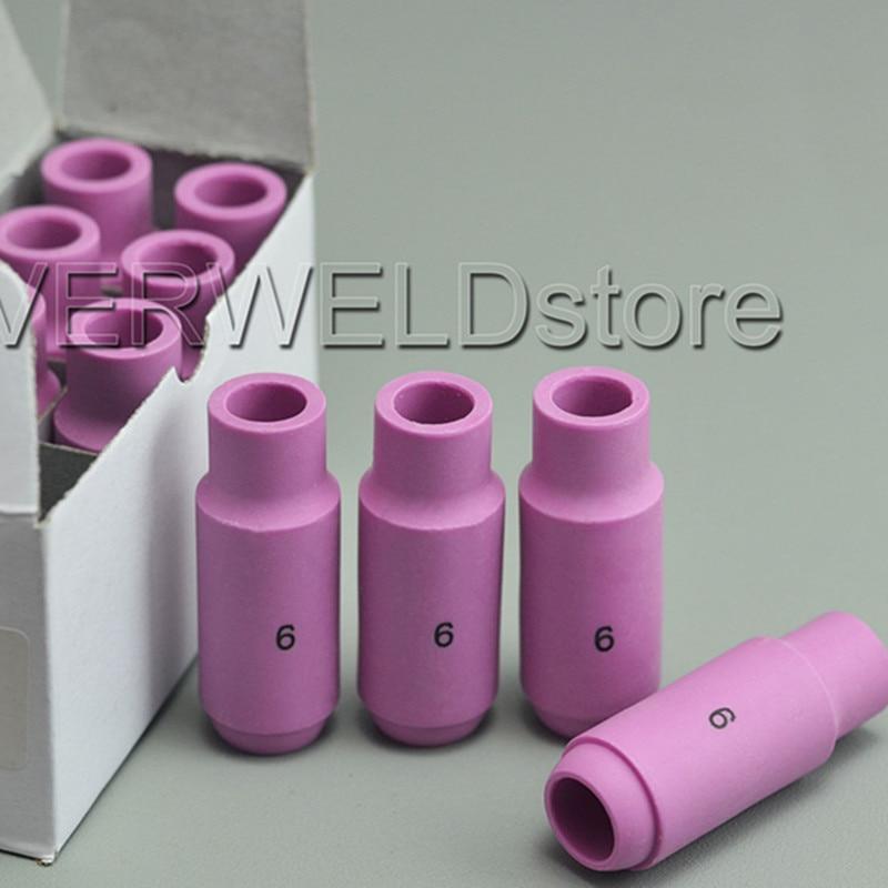 10PCS TIG Alumina Nozzles  Shield Cup #6 10N48 Fit TIG Welding Torch Consumables SR PTA DB WP 17 18 26 Series