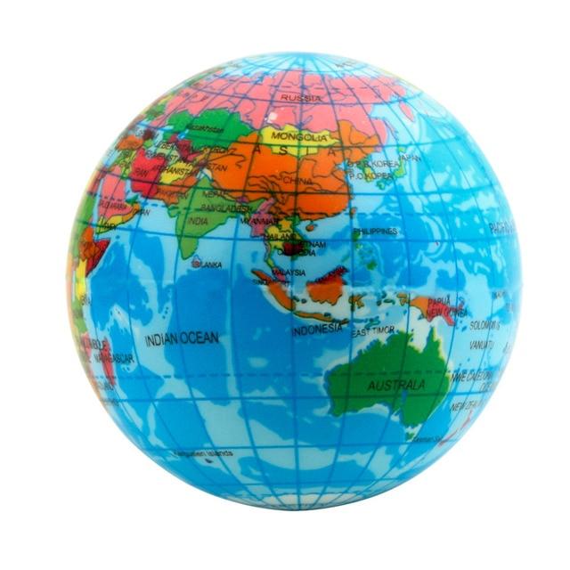 Hot World Map Foam Earth Globe Stress Relief Bouncy Ball Atlas