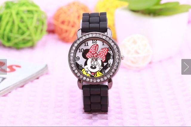 fashion minnie mouse girls Ladies women crystal Watch kids children cartoon silicone sport watches 1pcs/lot