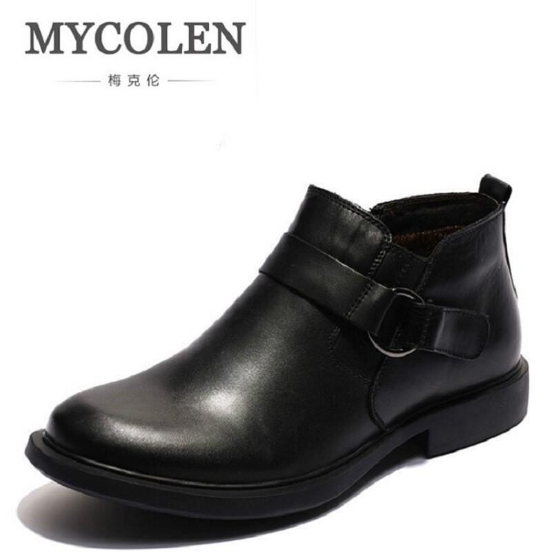 MYCOLEN Snow Boots Brand Russian Style Genuine Leather Men Winter Shoes Business Plus Velvet Men's Dress Shoes Schoenen Mannen