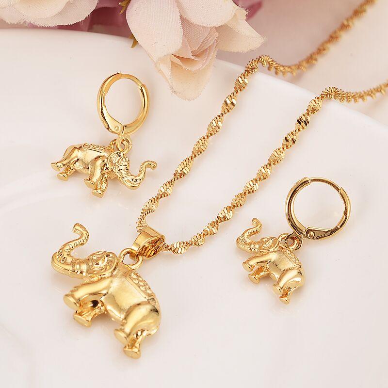 Женское и мужское ожерелье с подвеской, сережки в виде слона из 24-каратного золота, цепочка с подвеской в виде животного