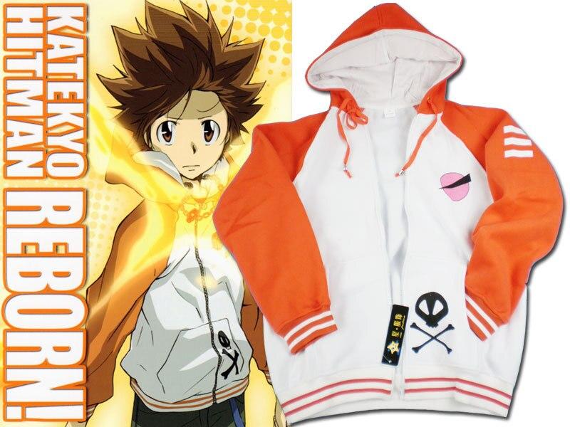 Katekyo Hitman Reborn Cosplay Costume Vongola Sawada Tsunayoshi Tsuna Unisex Hoodies Cardigan Sportswear Hooded Casual Jackets