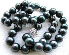 """Очаровательная! 10 мм черный ожерелье из Южного морского жемчуга ожерелье Бусины и бисер Jewelry Природный камень 18 """"AAA + цена оптовой продажи"""