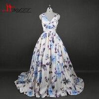 2017 New Arrival Amazing Charming Elegant Print Blue Rose Flowers Sexy V neck Long Elegant Evening Prom Dresses LIYATT