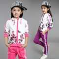 2016 new children clothing personality suit girls spring cotton peacock coat + pant 2 piece Kids fashion sport set 110-160