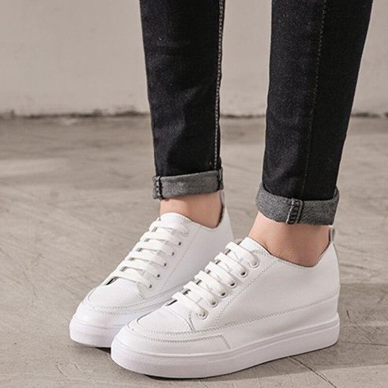 Hing Yau Frauen Schuhe Casual Plattform PU Leder Klassische Frauen müßiggänger Sommer Stil Casual Lace-Up Weiß Schuhe Turnschuhe größe 9