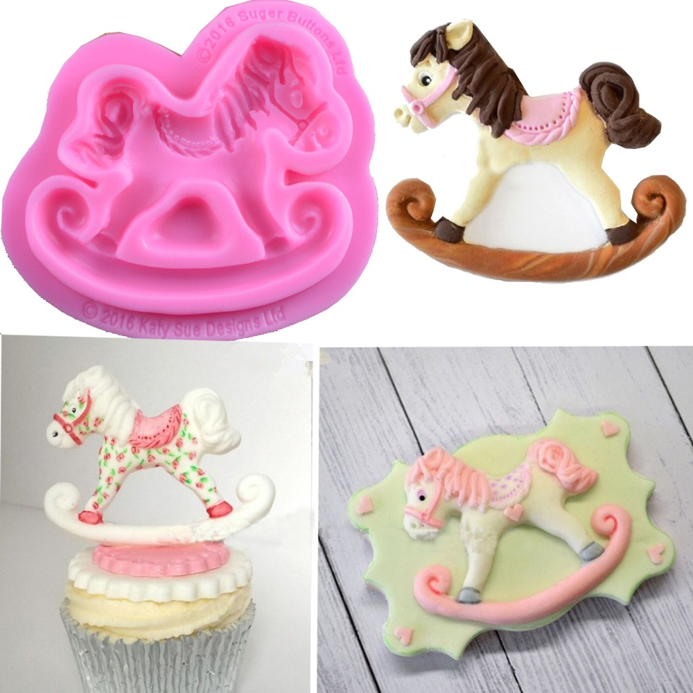 Sugar Buttons Carousel Horse Silicone Mould Fondant Cake ...