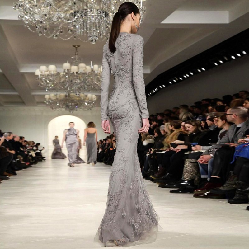 Vestido De Fiesta 2016 Runway Fashion Grey Elegant Lace Long Sleeve Evening Dresses Arabic Style Special Occasion Dresses 2017