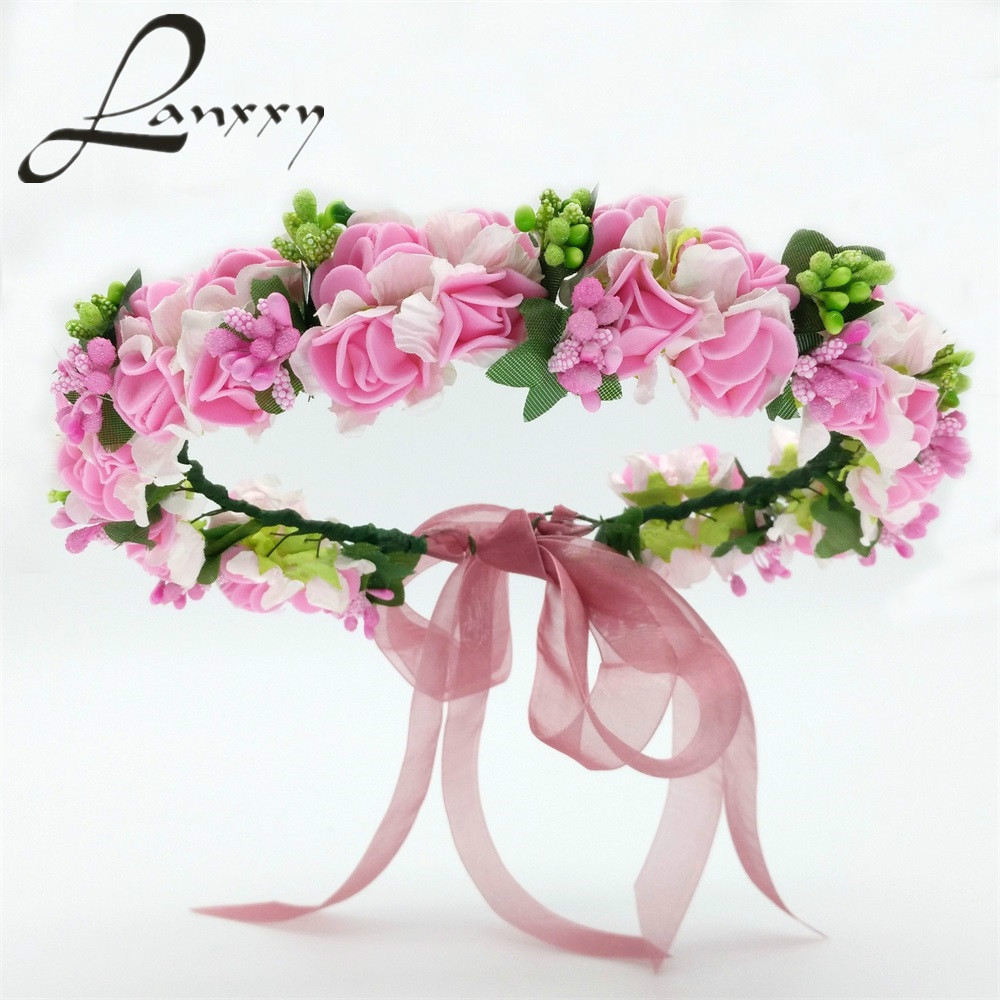 Lanxxy 2016 New Women Wedding Bridal Hair Bands Flowers Hair Accessories Floral Crown Girls Headwear Fashion Gifts Headband women girl bohemia bridal camellias hairband combs barrette wedding decoration hair accessories beach headwear