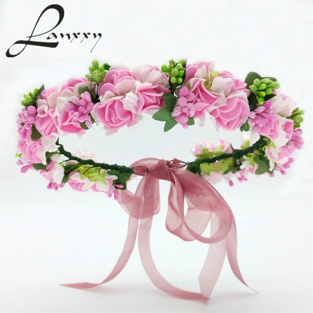 ᓂLanxxy 2016 New Women Wedding Bridal Hair Bands Flowers Hair ...