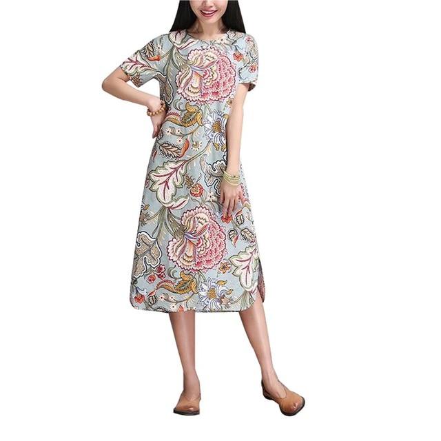 2017 Spring Autumn Women dress National Printing Women long dress long sleeve Casual Cotton Linen Loose Plus Size Vestidos Robe