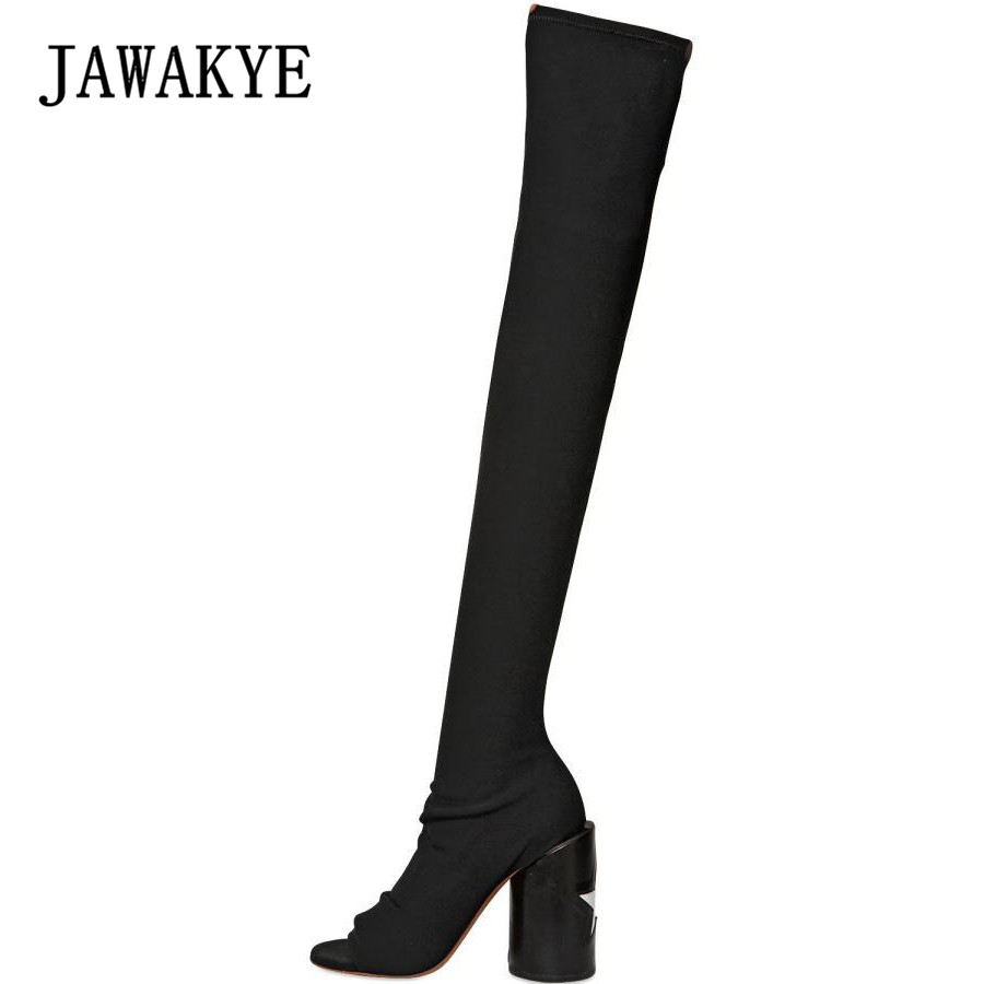 Black Peep toe Elastic Sock Long Boots Women Round Chunky High Heel Sexy stretch ladies Slim Shoes Thigh High Boots botas largas 2018 sexy women thigh high knit boots stretch fabric kim kardashian sock bootie chunky high heel women elastic desert boots