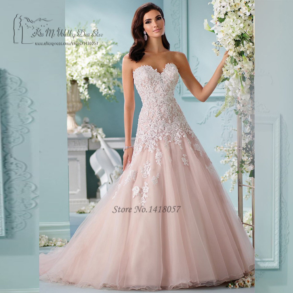 Boho Blush Pink Wedding Dresses Lace White Custom Made Wedding Gowns ...