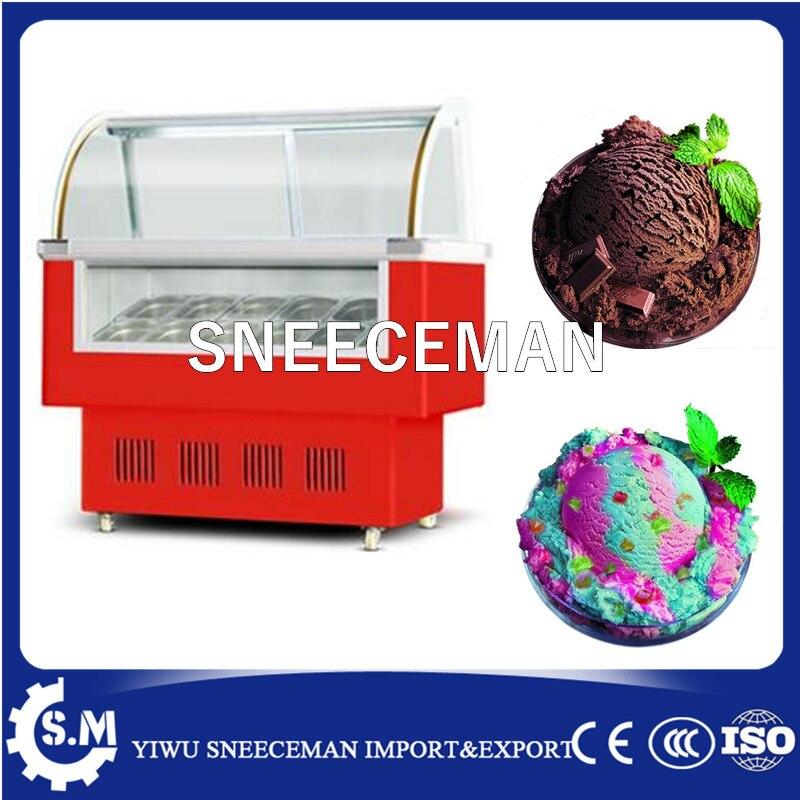 Ice Cream Display Cabinet Display Gelato Sliding Glass Door Cabinet Free Stand Ice Cream