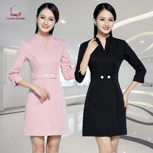 Beautician work clothes dress beauty salon health club front desk professional spring and summer new sleeves