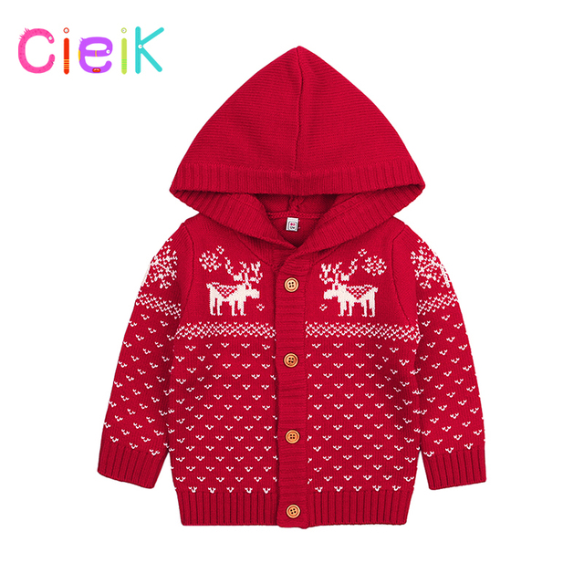 54930c5c2 CieiK Baby Girl Outwear Knitted Children Hooded Sweater Christmas ...