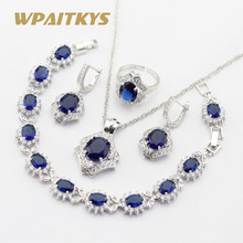 Silver Color Jewelry Sets For Women Created Dark Blue Sapphire White Topaz Necklace Pendant Bracelets Earrings Rings Free Box все цены