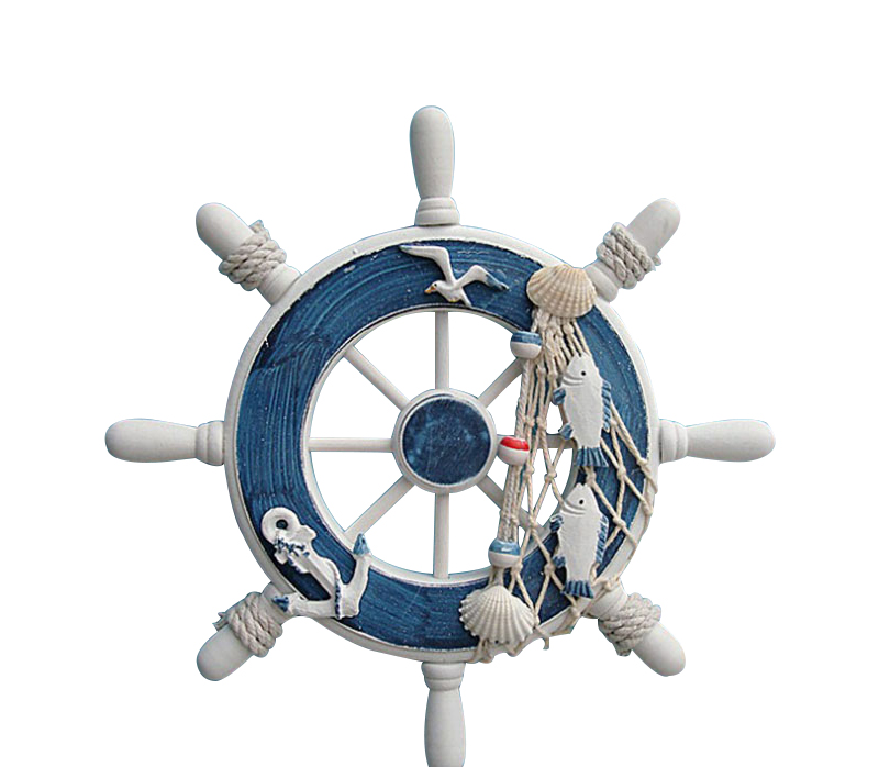 5 Style Beach Wooden Boat Ship Rudder Fishing Net Home Wall Nautical Decoration
