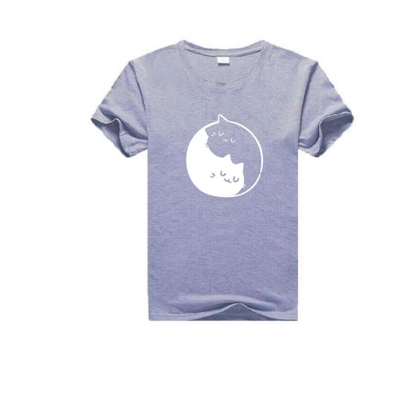 Yin et chat motif imprimé T Shirt femmes mode grande taille à manches courtes coton drôle t shirt Femme esthétique Art haut pour Femme - 4